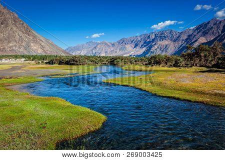 Stream in Nubra valley. Hunber, Nubra valley, Ladakh, India