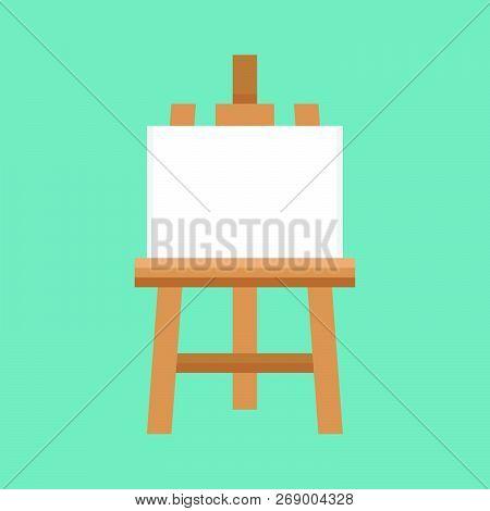 Blank Painting Board Or Canvas Board, Wooden Easel, Art Board Vector