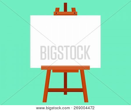 Blank Painting Board Or Canvas Board, Wooden Easel, Art Board, Vector Illustration