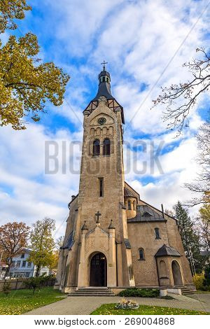 Lutheran church in Dubulti, Jurmala, Latvia. It was built in 1909 with traits of asymmetry and national Latvian romanticism style. Architect W. Bokslaf poster