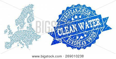 Map Of Euro Union Vector Mosaic And Clean Water Grunge Stamp. Map Of Euro Union Created With Blue Wa