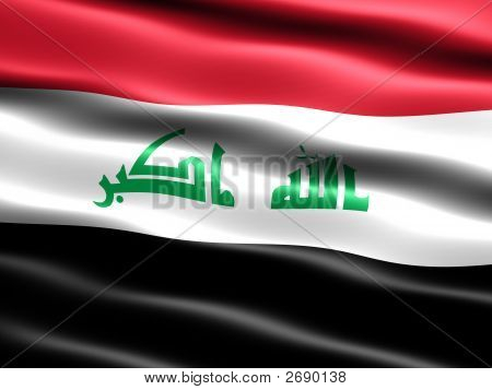 Computer generated illustration of the 2008 flag of Iraq with silky appearance and waves poster