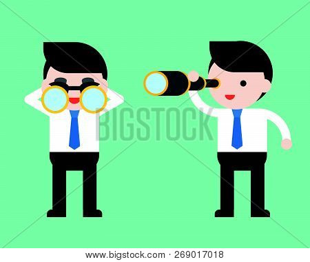Cute Businessman Or Manager With Binoculars And Monocular Scope, Ready To Use Character, Flat Design