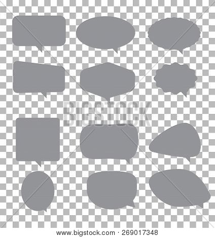 Speech Bubble Icon On Transparent Background. Flat Style. Blank Empty Gray Speech Bubbles. Speech Bu