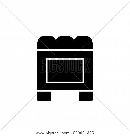 Black & White Vector Illustration Of Cube Leather Ottoman, Pouf. Flat Icon Of Accent Stool Or Chair.