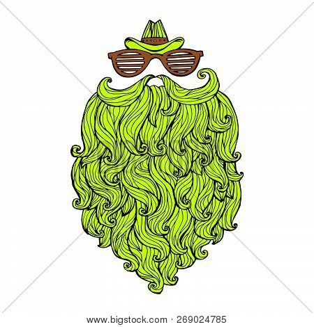 Hand Drawn Of Long Beard And Mustache With Curly Flow. Vector Illustration Graffiti Perfect Funny Do