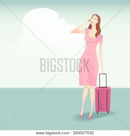 The Pretty Woman Traveller With Suitcase Walking And Talking On The Phone, She Wearing A Pink Dress