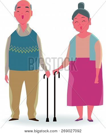 Full Length Portrait Of Senior Couple With A Walking Cane Smiling Isolated On White Background.
