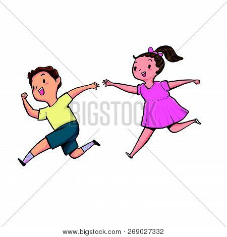 The Boy And Girl Running Together With Happiness, Vector Illustration Hand Drawn Style Isolate Backg