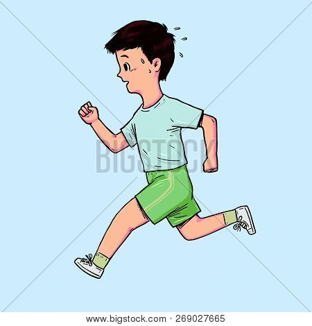 Hand Drawn The Boy Was Running, Full-length Portrait. Vector Illustration On White Background