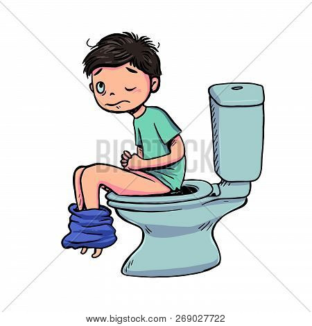 Hand Drawn The Boy Sitting On The Toilet. Shit Expression Awkward. Vector Illustration On White Back