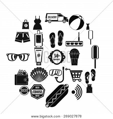 Tourist Shop Icons Set. Simple Set Of 25 Tourist Shop Vector Icons For Web Isolated On White Backgro