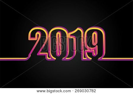 2019 On Black Background, New Year 2019,, Happy New Year 2019,, New Year 2019, Numeral 2019, New Yea