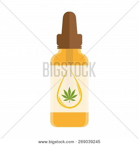 Cannabis Oil Phial With Drop And Leaf Isolated On White Background Vector Illustration Eps10