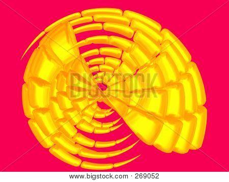 3d - bright golden shell on crimson poster