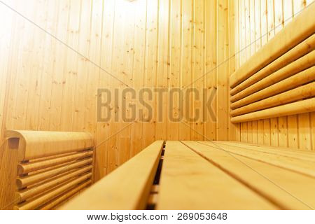 Interior Of Finnish Sauna, Classic Wooden Sauna, Finnish Bathroom. Wooden Sauna Cabin. Wooden Room.