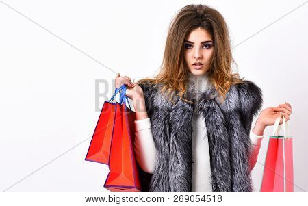 Girl Makeup Face Long Hairstyle Wear Fur Vest White Background. Woman Shopping Luxury Boutique. Lady