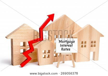 Wooden House And The Inscription Mortgage Interest Rates And Up Arrow. Raising Mortgage Rates And Ta