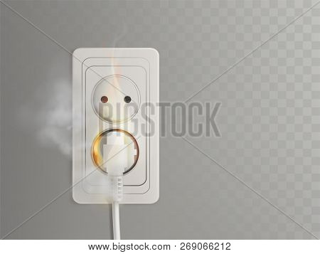 Short Circuit In Electrical Outlet 3d Realistic Vector With Flaming Power Plug In Socket Illustratio