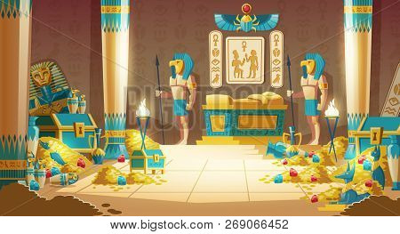 Egypt Pharaoh Tomb Or Treasury Cartoon Vector With Warriors In Masks, Armed Spears, Standing Near Ro