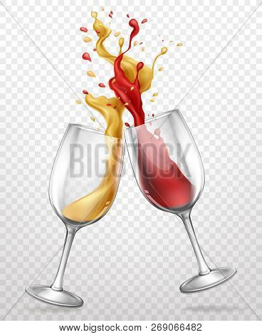 Cheers Realistic Vector Concept With Red And White Wine Splashing, Spilling From Clinking Glass Wine