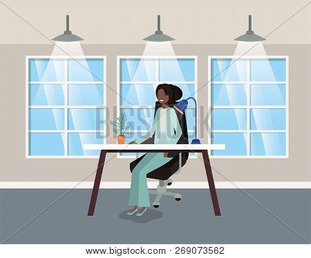 Modern Office With Black Businesswoman Sitting Vector Illustration Design