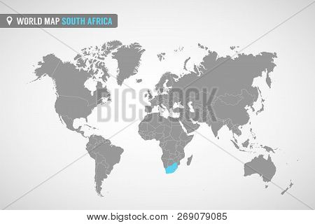 World Map With The Identication Of South Africa. Map Of South Africa. Political World Map In Gray Co