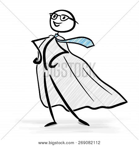 Businessman With Superhero Costume In A Confident Standing Pose - Stick Figure Vector Image
