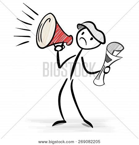Paperboy With A Megaphone Announcing Big News - Stick Figure Vector Image
