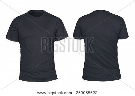 Black T-shirt Mock Up, Front And Back View, Isolated. Plain Black Shirt Mockup. Short Sleeve Shirt D