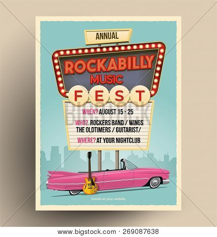 Rockabilly Music Festival Or Party Or Concert Promo Poster. Flyer Template. Vintage Styled Vector Il