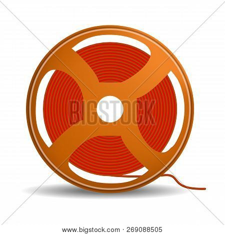 Red Wire Coil Icon. Realistic Illustration Of Red Wire Coil Vector Icon For Web Design Isolated On W