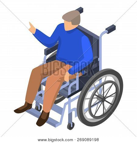Invalid Man In Wheelchair Icon. Isometric Of Invalid Man In Wheelchair Vector Icon For Web Design Is