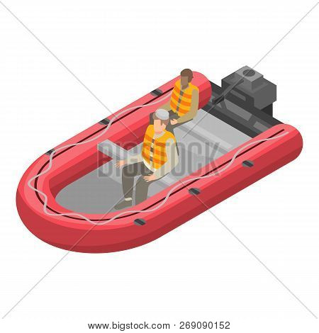 Migrant Boat Icon. Isometric Of Migrant Boat Vector Icon For Web Design Isolated On White Background