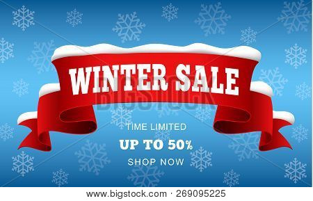 Big Winter Sale Concept Background. Realistic Illustration Of Big Winter Sale Vector Concept Backgro
