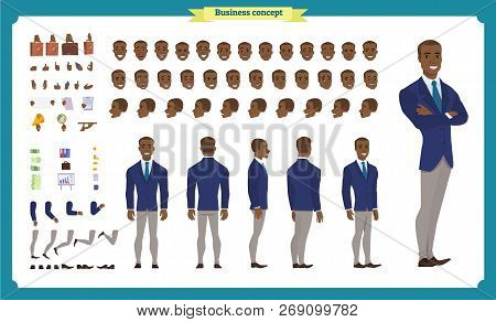 People Character Business Set. Front, Side, Back View Animated Character. Black American Businessman