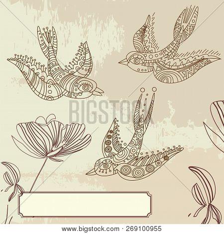 Beautiful Stylized Ethnic Birds. Ethnic Bird On Grunge Background