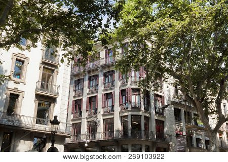 Barcelona, Spain - July 13, 2013: Barcelona Architecture. Houses Opposite The Opera House On The Ram