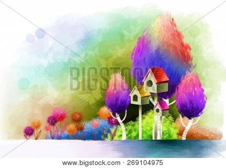 Bird Houses with trees