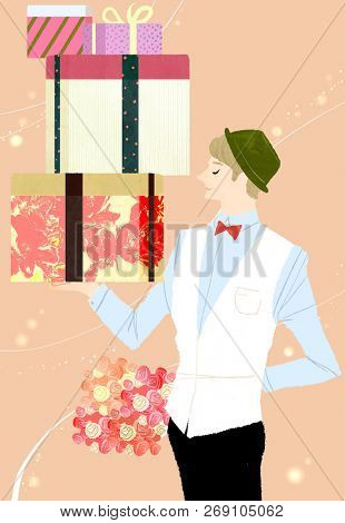 Young man Holding gift boxes and bouquet of flowers