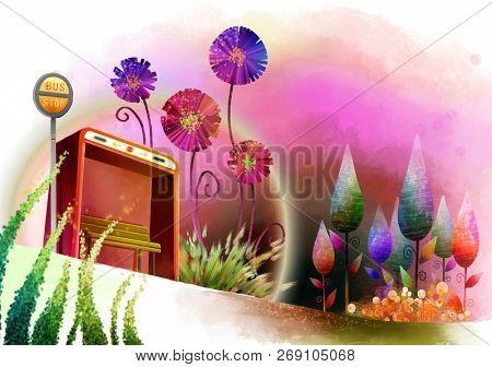 Rainbow bus stop