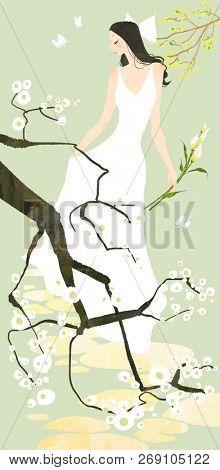 Bride portrait holding flowers