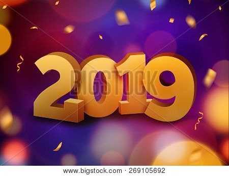 Happy New Year 2019 Background Decoration. Greeting Card Design Template 2019 Confetti. Vector Illus