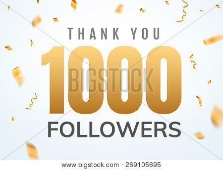 Thank You 1000 Followers Design Template Social Network Number Anniversary. Social Users Golden Numb
