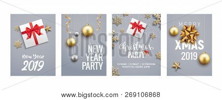 New Year Christmas Greeting Card Background Flyer Or Brochure Design. Christmas Holiday Banner Gold