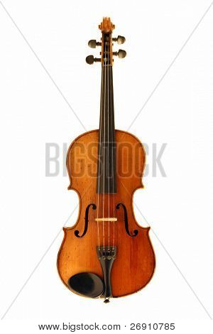 antique violin isolated on white with clipping path