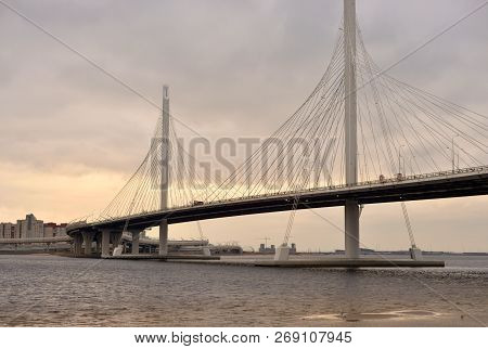 poster of Cable bridge across the Petrovsky fairway in Saint Petersburg, Russia. Part of the Western high-speed diameter.