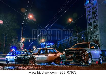 Accident Cars On City Road At Night