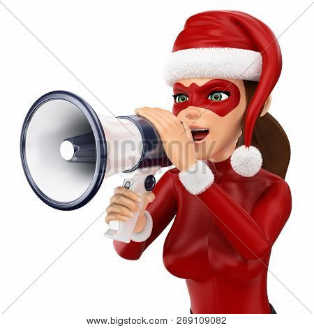 3d Christmas People Illustration. Woman Superhero Talking On A Megaphone. Isolated White Background.