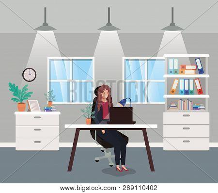 Modern Office With Businesswoman Sitting Vector Illustration Design